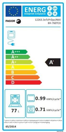 Etiqueta de Eficiencia Energética - 8H-760TCX