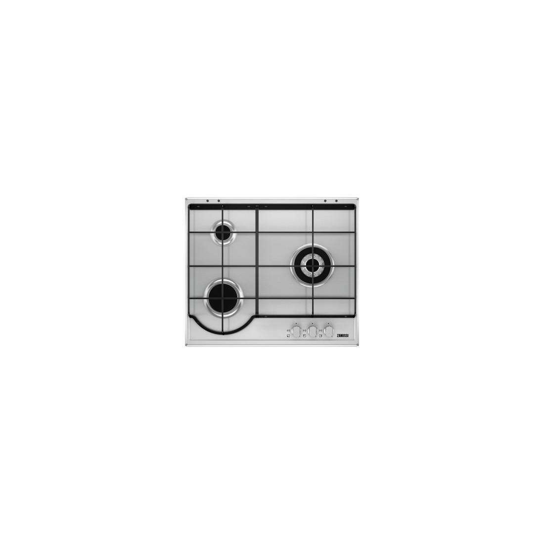 Placa Gas - Zanussi ZGG65334XA, 3 Zonas, 60 cm, Acero Inoxidable, Sin Marco