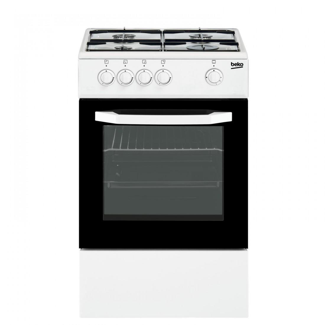 Cocina Gas - Beko CSG42009DW, 50 cm, 4 fuegos, Blanco