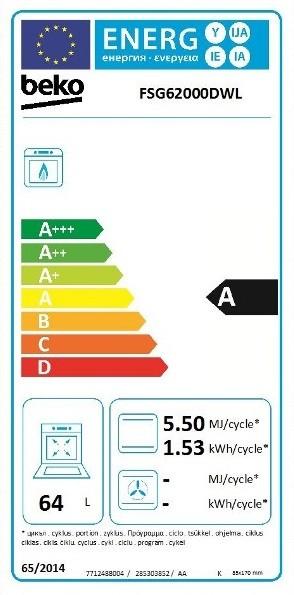 Etiqueta de Eficiencia Energética - FSG62000DWL
