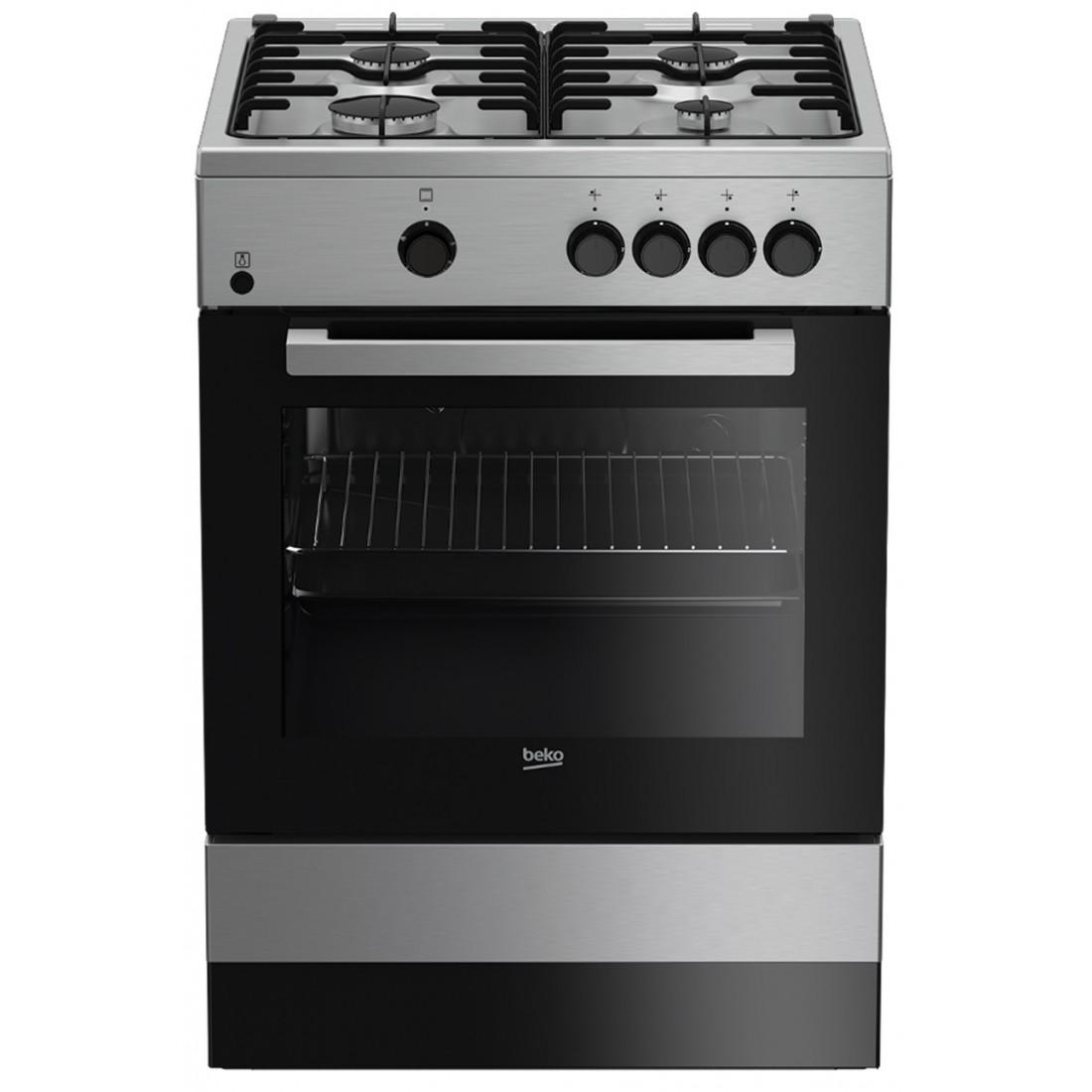 Cocina Gas - Beko FSG62000DXL, Eficiencia A, 60 cm, 4 fuegos, Acero Inoxidable