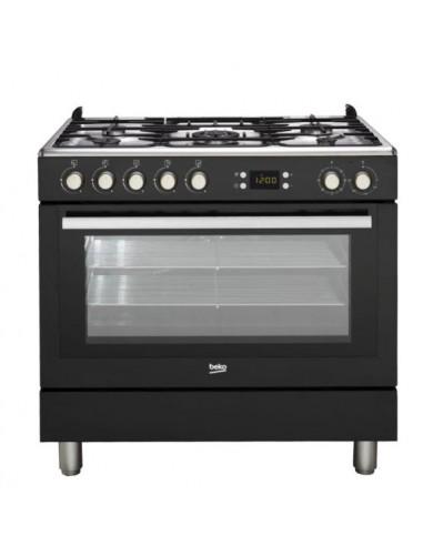 Cocina Gas - Beko GM15310DB, 90 cm, 5...
