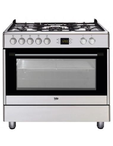 Cocina Gas - Beko GM15321DX, 90 cm, 5...