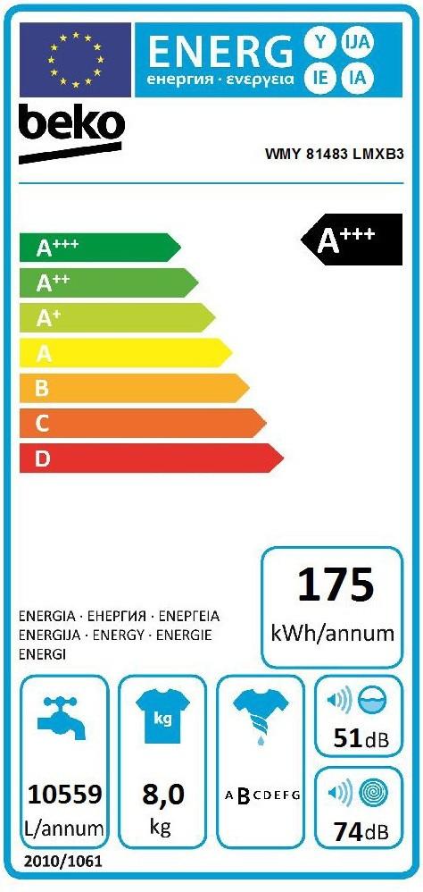 Etiqueta de Eficiencia Energética - WMY81483LMXB3
