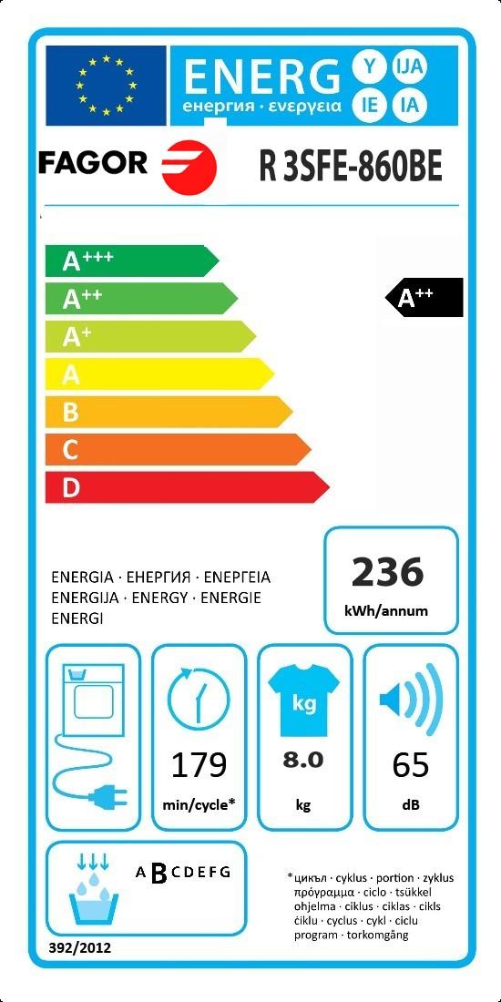 Etiqueta de Eficiencia Energética - 3SFE-860BE
