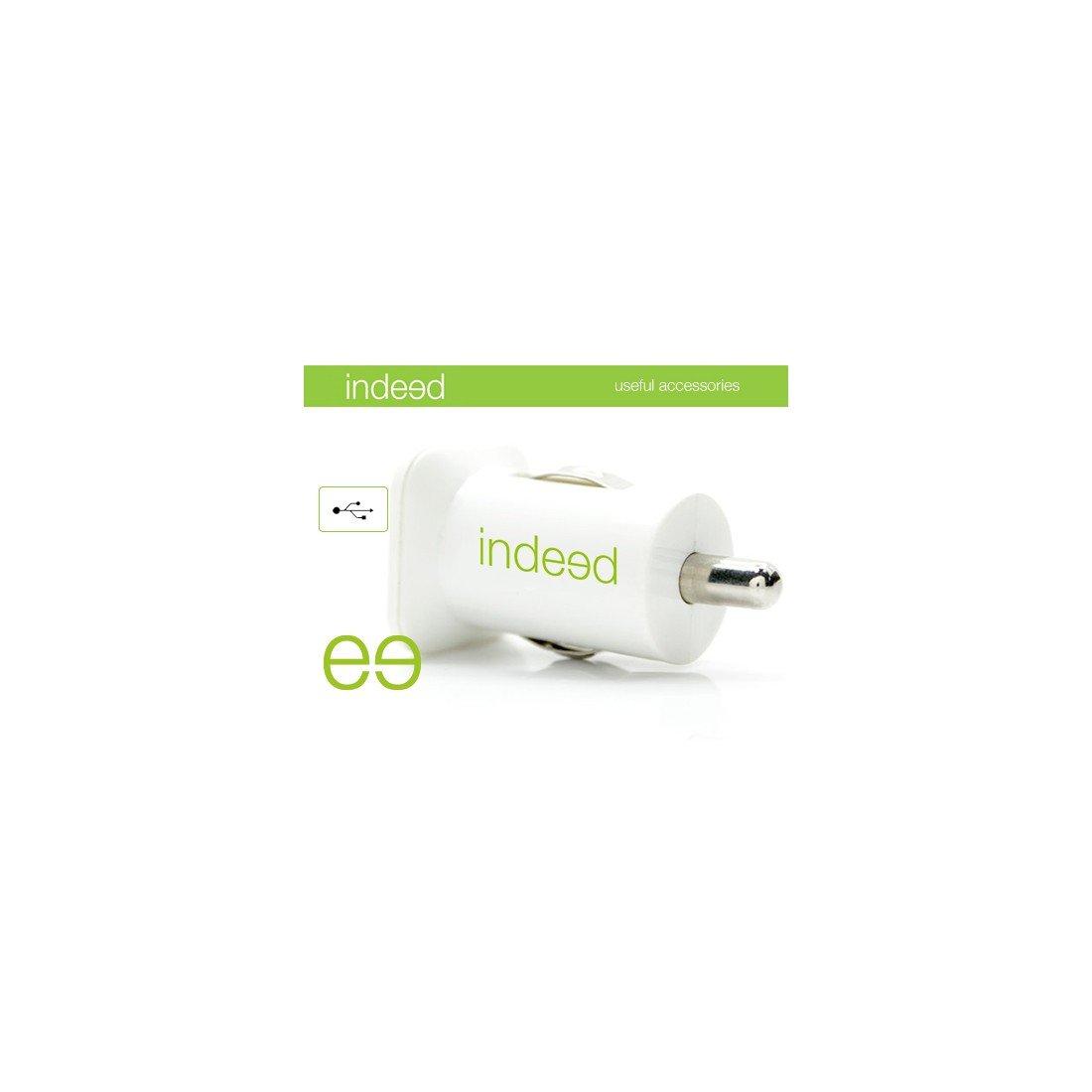Cargador - Indeed INDDC3 Dual, 3 en 1, Coche, Blanco