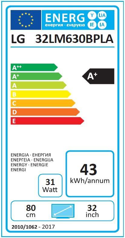 Etiqueta de Eficiencia Energética - 32LM630BPLA