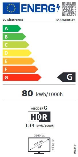 Etiqueta de Eficiencia Energética - 55NANO816PA