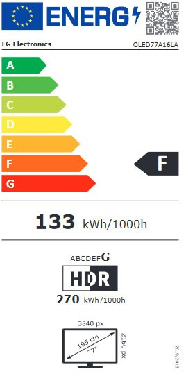 Etiqueta de Eficiencia Energética - OLED77A16LA