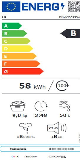 Etiqueta de Eficiencia Energética - F4WV3009S3W