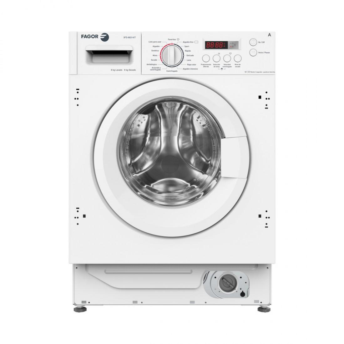 Lavasecadora Integrable - Fagor 3FS-86314IT, Eficiencia A, 8 kg, 1400 rpm, 6 kg