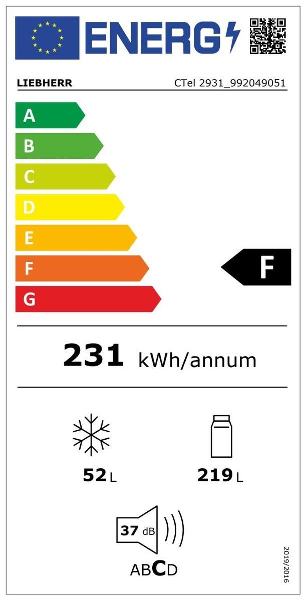 Etiqueta de Eficiencia Energética - CTEL2931