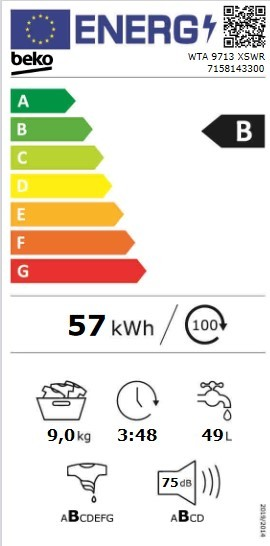 Etiqueta de Eficiencia Energética - WTA 9713 XSWR