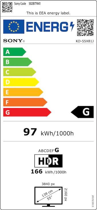 Etiqueta de Eficiencia Energética - KD55X81JAEP