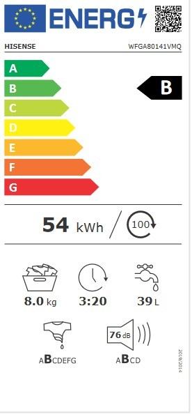 Etiqueta de Eficiencia Energética - WFGA80141VM