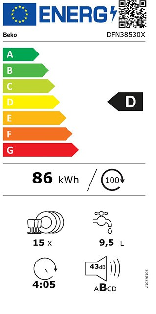 Etiqueta de Eficiencia Energética - DFN38530X