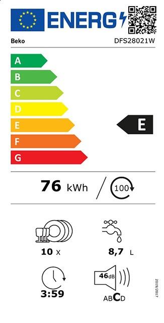 Etiqueta de Eficiencia Energética - DFS28021W