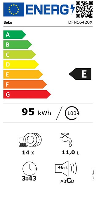Etiqueta de Eficiencia Energética - DFN16420X